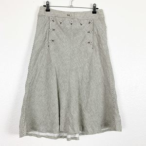 J Crew Gray Button Stripe Linen A-Line Midi Skirt